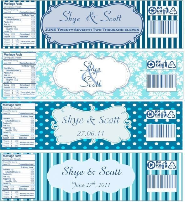 Free Water Bottle Label Template Water Bottle Labels now with Templates Wedding Blue