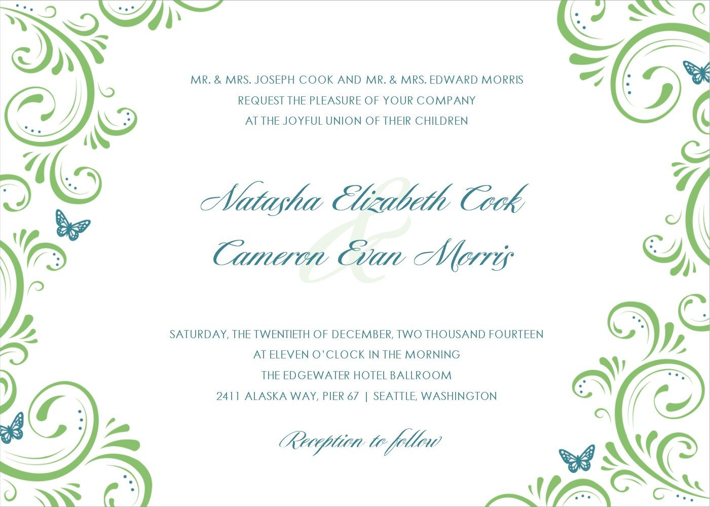 Free Wedding Invitation Template Applying the Wedding Planning Templates