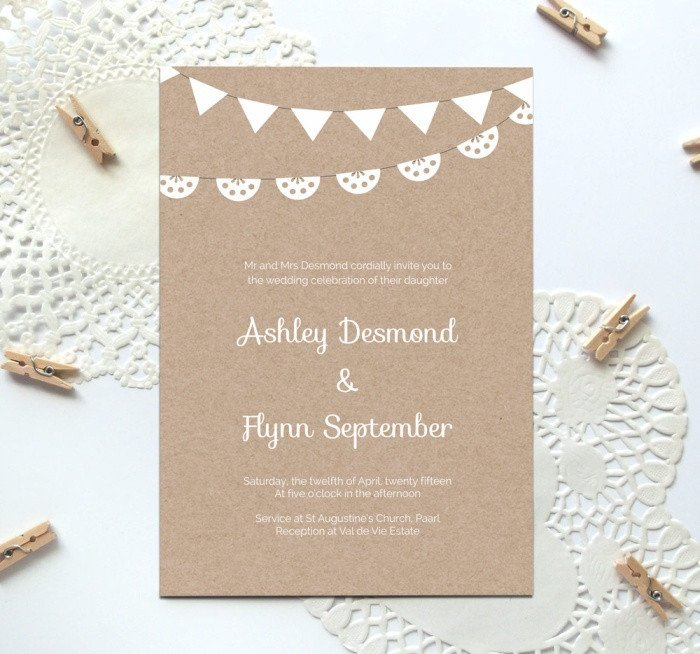 Free Wedding Invitation Template Free Printable Wedding Invitation Template Kraft Paper