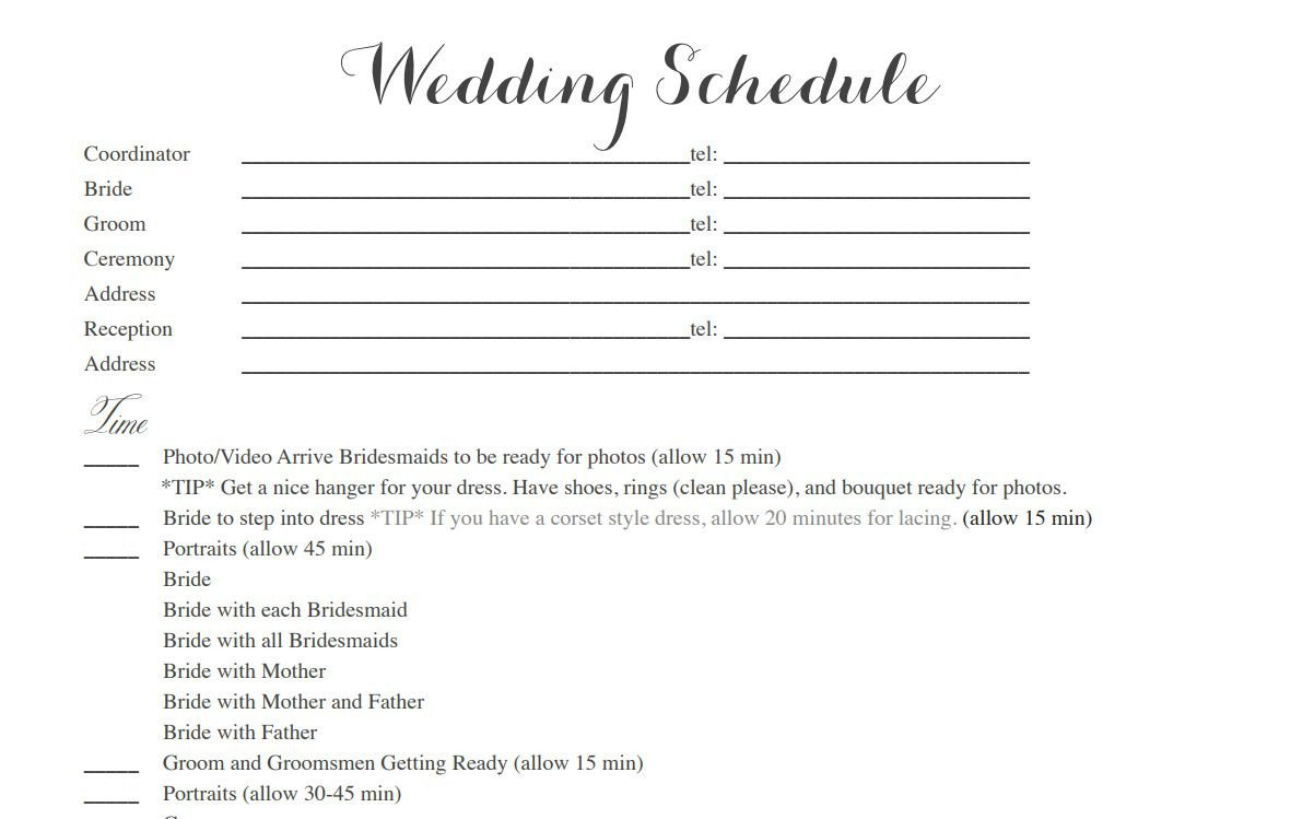 Free Wedding Itinerary Template Free Wedding Itinerary Templates and Timelines