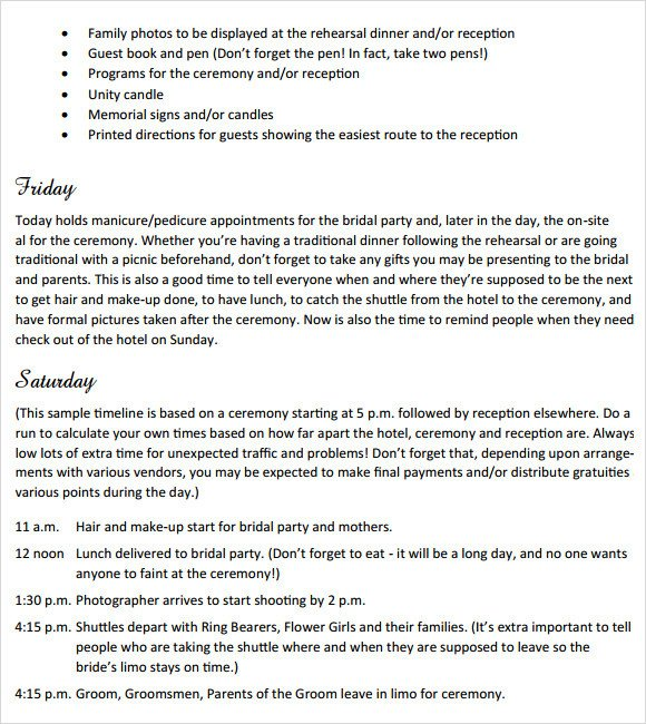 Free Wedding Itinerary Template Sample Wedding Weekend Itinerary Template 12 Documents