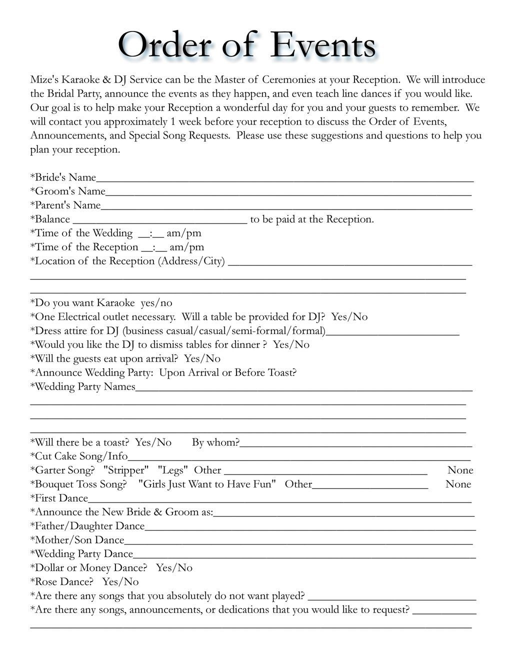 Free Wedding Itinerary Template Wedding Itinerary Templates Free