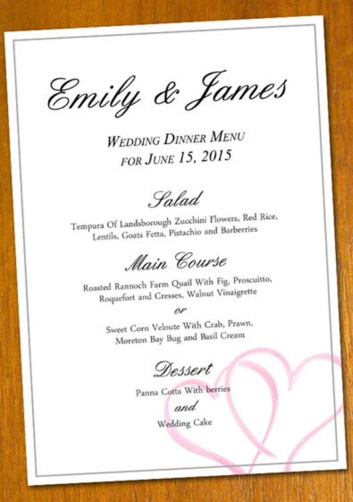 Free Wedding Menu Template 36 Absolutely Free Menu Templates Ai Docs Pages