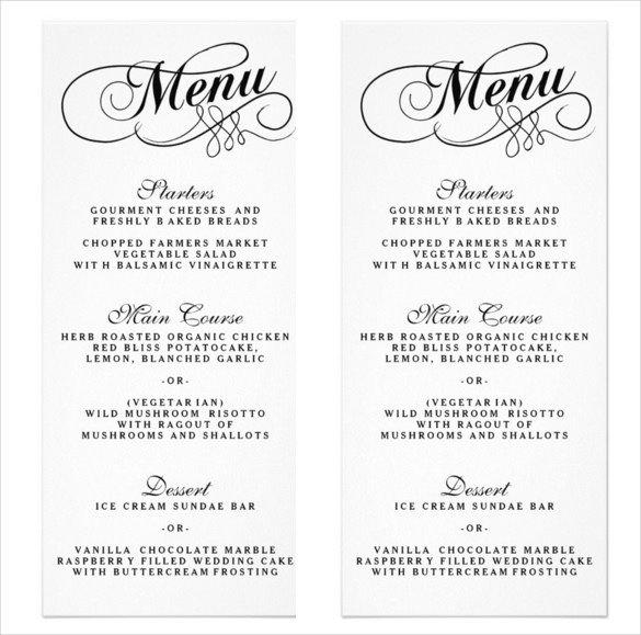 Free Wedding Menu Templates 36 Wedding Menu Templates Ai Psd Google Docs Apple