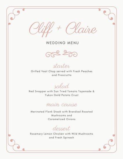 Free Wedding Menu Templates Customize 273 Wedding Menu Templates Online Canva