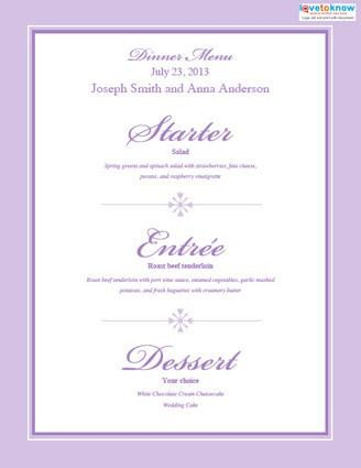 Free Wedding Menu Templates Free Printable Wedding Menu Templates