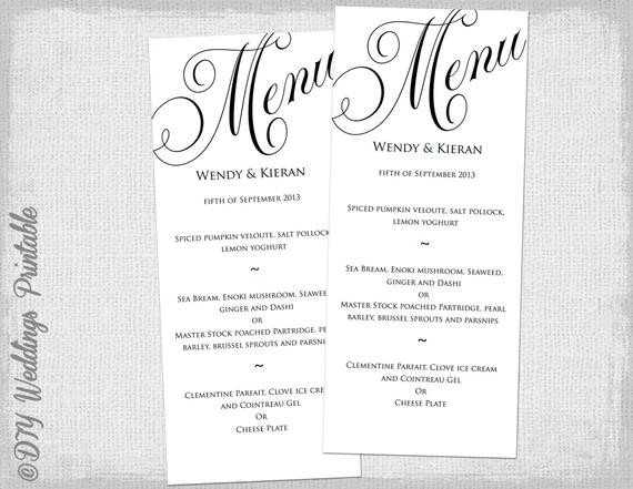 Free Wedding Menu Templates Menu Template Black and White Wedding Menu Diy Wedding Menu