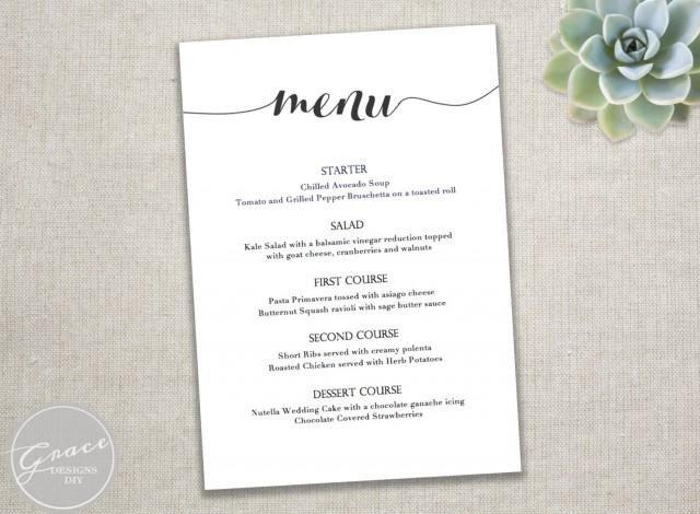 Free Wedding Menu Templates Printable Black Menu Template Calligraphy Style Script
