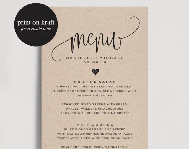 Free Wedding Menu Templates Rustic Wedding Menu Wedding Menu Template Menu Cards