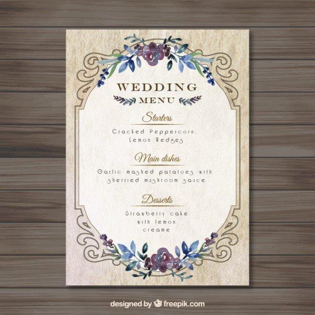 Free Wedding Menu Templates Vintag Wedding Menu Template Vector