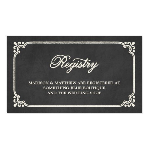 Free Wedding Registry Card Template Chalkboard Union