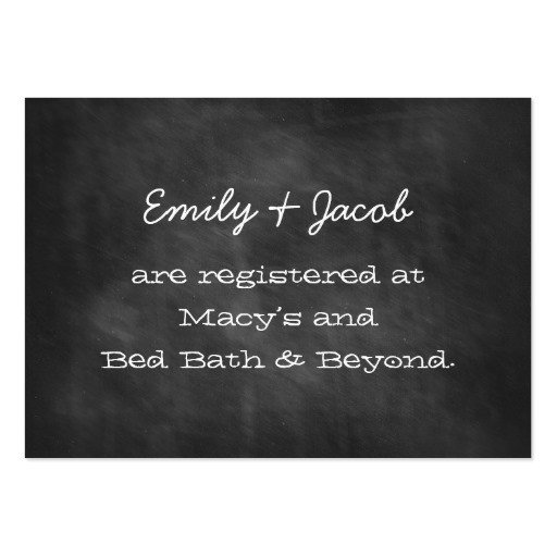 Free Wedding Registry Card Template Chalkboard Wedding Shower Registry Insert Cards