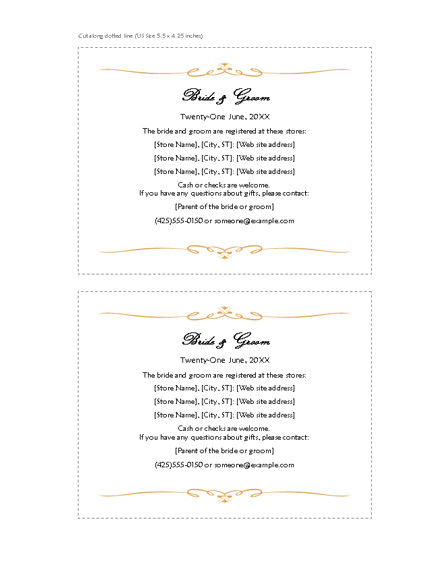 Free Wedding Registry Card Template Download Free Printable Invitations Of Registry Cards