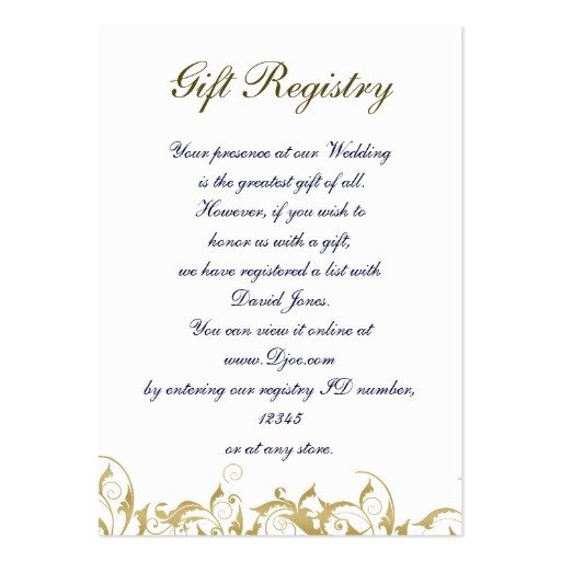 Free Wedding Registry Card Template Gold Gift Registry Cards Business Cards Pack 100