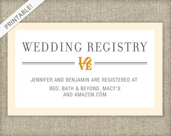 Free Wedding Registry Card Template Love Bridal Shower Registry Card Customizable Colors