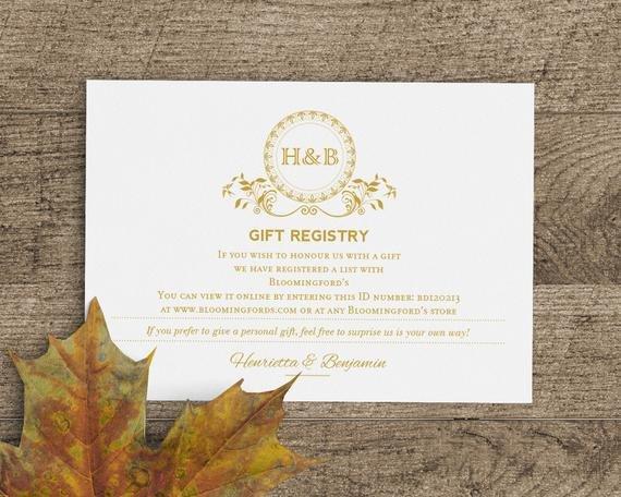 Free Wedding Registry Card Template Printable Wedding Gift Registry Card Template In Classic Gold