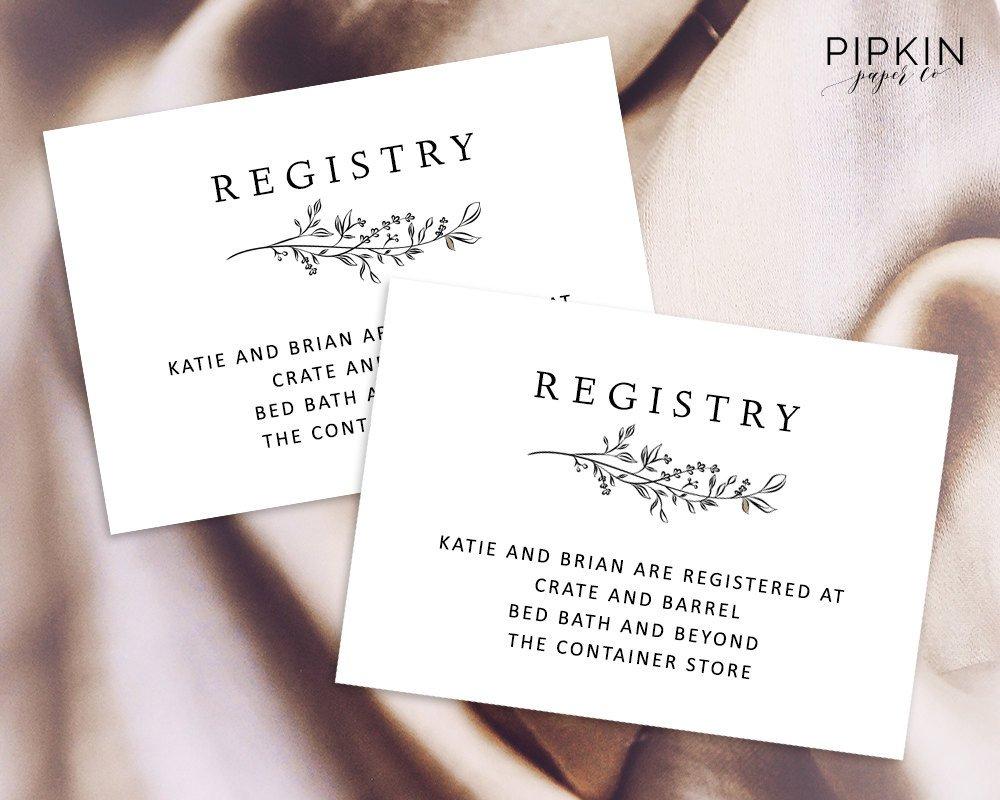 Free Wedding Registry Card Template Wedding Registry Card Enclosure Card Template Baby Shower