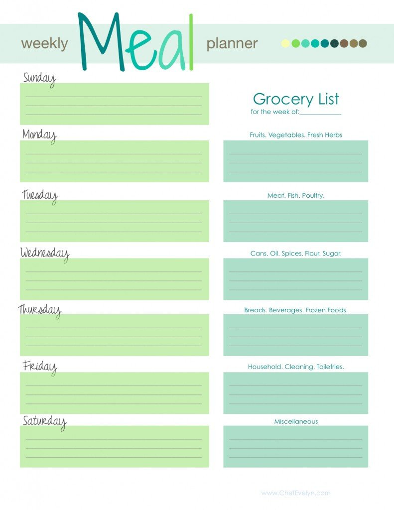 Free Weekly Meal Planner Template 28 Free Printable Grocery List Templates