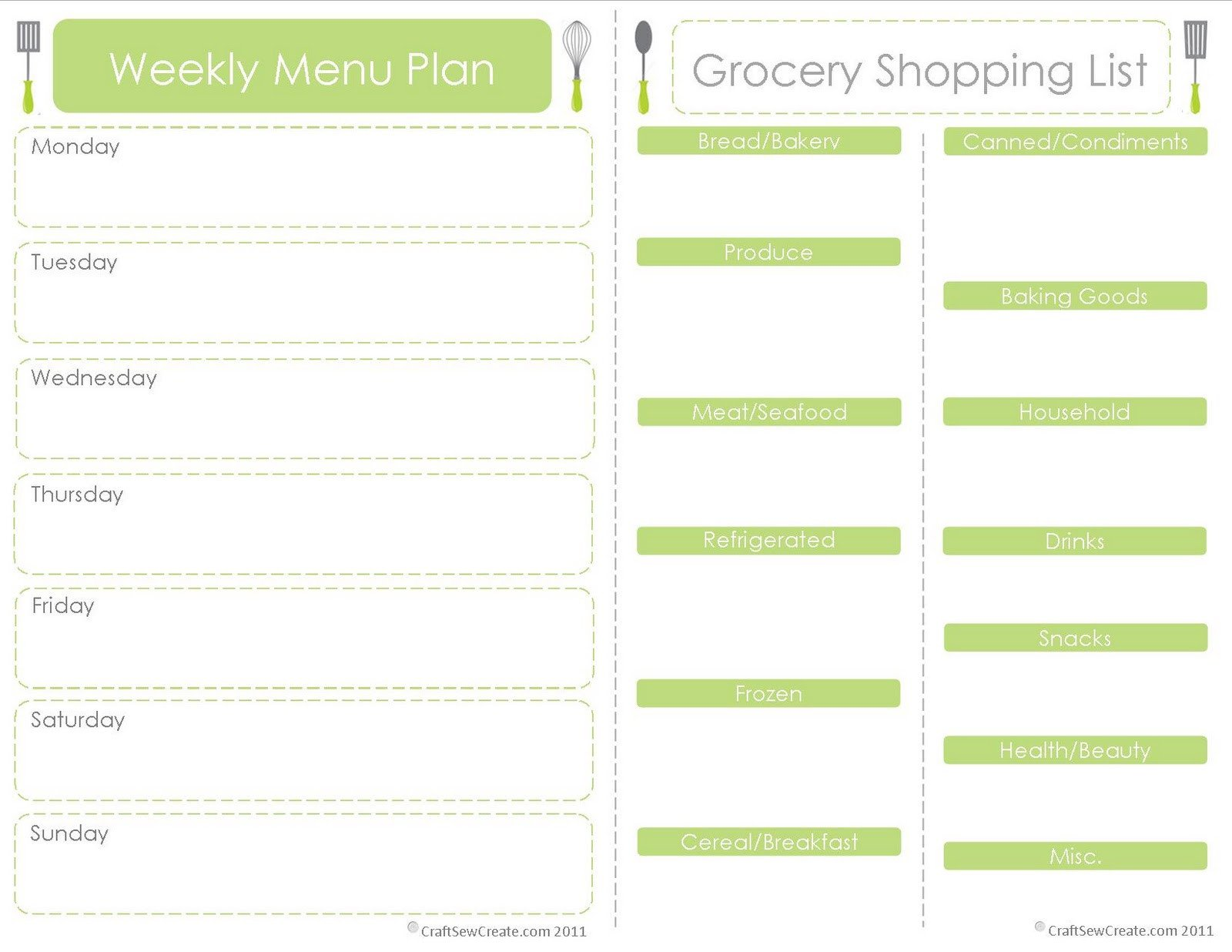 Free Weekly Meal Planner Template Craft Sew Create Free Printable Menu Plan Shopping List