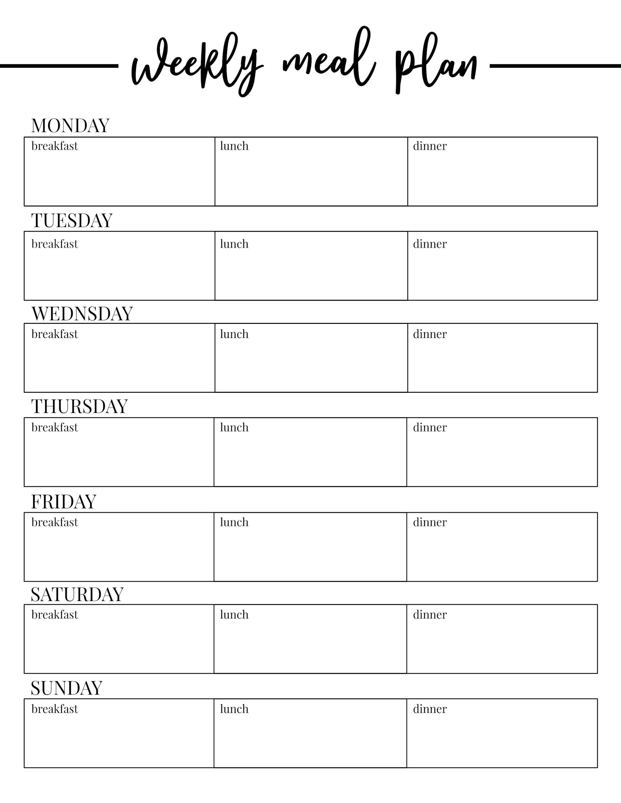 Free Weekly Meal Planner Template Free Printable Weekly Meal Plan Template Paper Trail Design