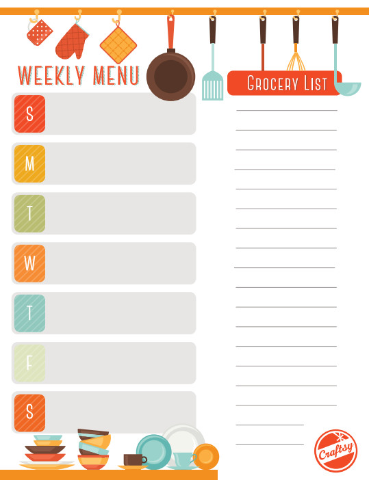 Free Weekly Meal Planner Template Get A Free Printable Weekly Meal Planner On Craftsy