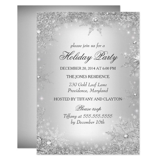 Free Winter Wonderland Invitations Templates Silver Winter Wonderland Christmas Holiday Party