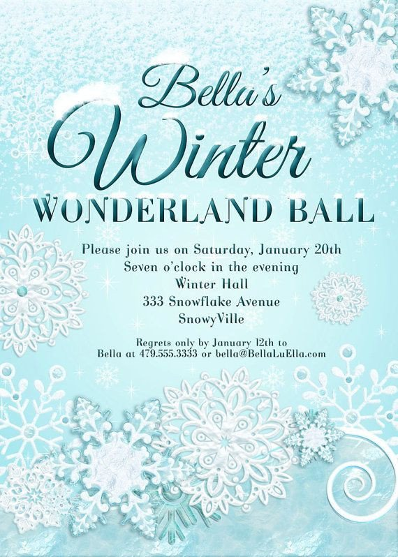 Free Winter Wonderland Invitations Templates Snowflake Invitation Frozen Pinterest