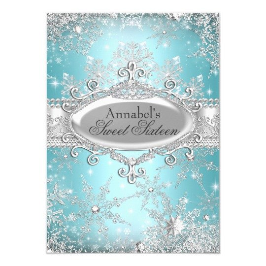 Free Winter Wonderland Invitations Templates Teal Princess Winter Wonderland Sweet 16 Invite