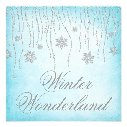 "Free Winter Wonderland Invitations Templates Winter Wonderland Diamond Snowflakes Prom 5 25"" Square"