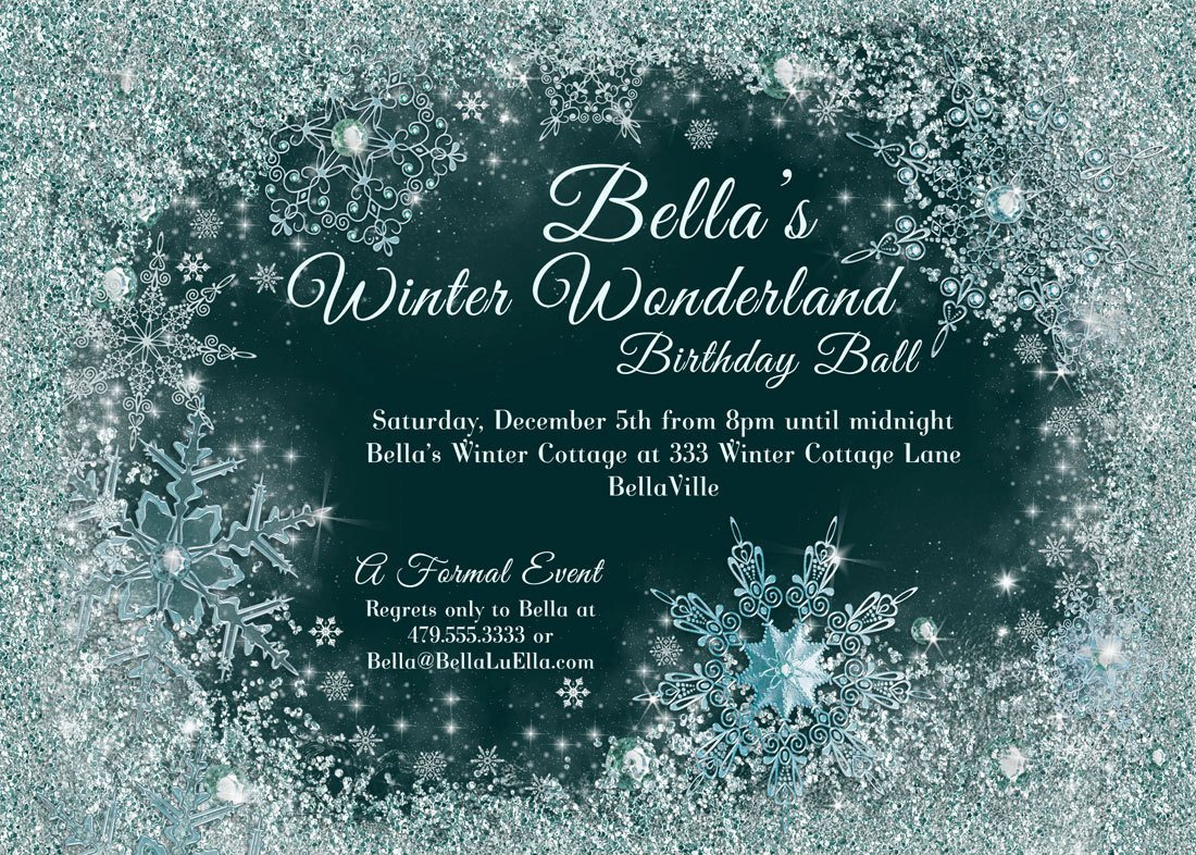 Free Winter Wonderland Invitations Templates Winter Wonderland Party Winter Snowflake Ball Invitation