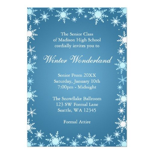 "Free Winter Wonderland Invitations Templates Winter Wonderland Prom Invitations 5"" X 7"" Invitation Card"