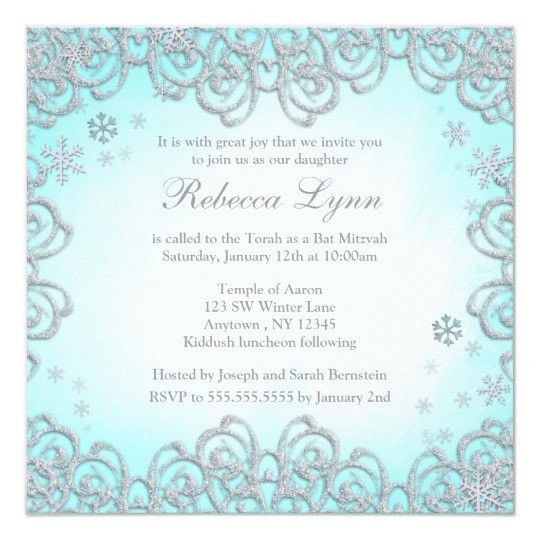Free Winter Wonderland Invitations Templates Winter Wonderland Swirl Snowflakes Bat Mitzvah Invitation