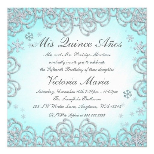 Free Winter Wonderland Invitations Templates Winter Wonderland Swirl Snowflakes Quinceanera 5 25x5 25