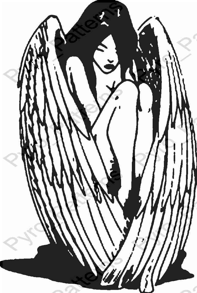 Free Woodburning Patterns Stencils Angel Pyrography Wood Burning Pattern Printable Stencil
