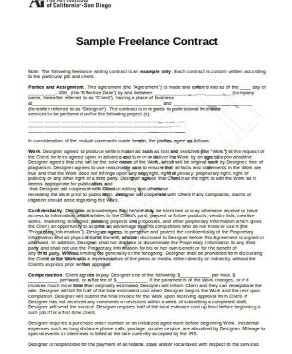 Freelance Graphic Design Contract Template 17 Freelance Contract Templates Docs Word Pages