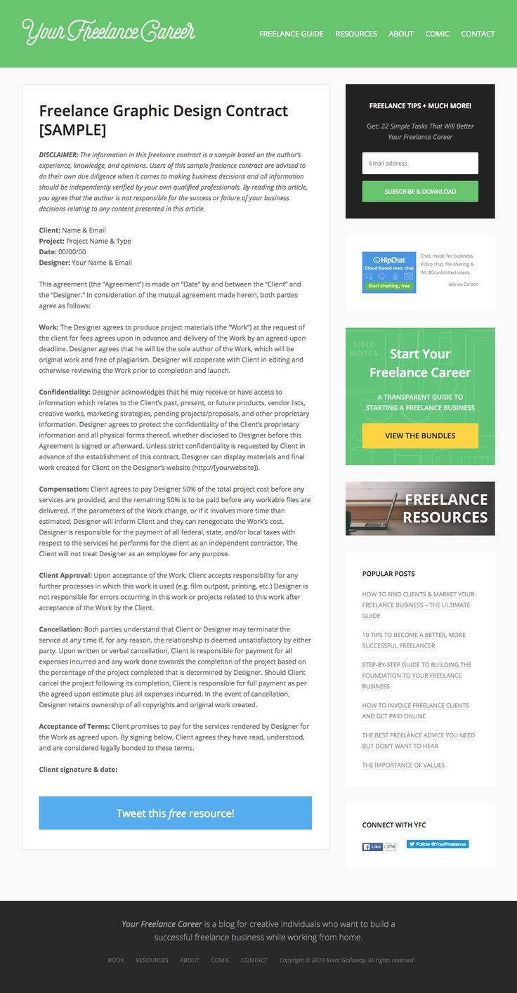 Freelance Graphic Design Contract Template 25 Best Freelance Images On Pinterest
