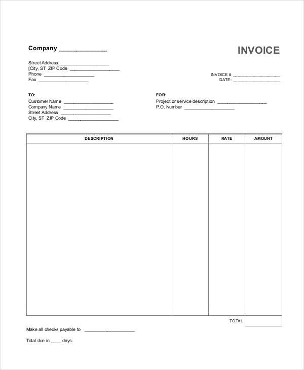 Freelance Hourly Invoice Template 27 Free Invoice Examples & Samples