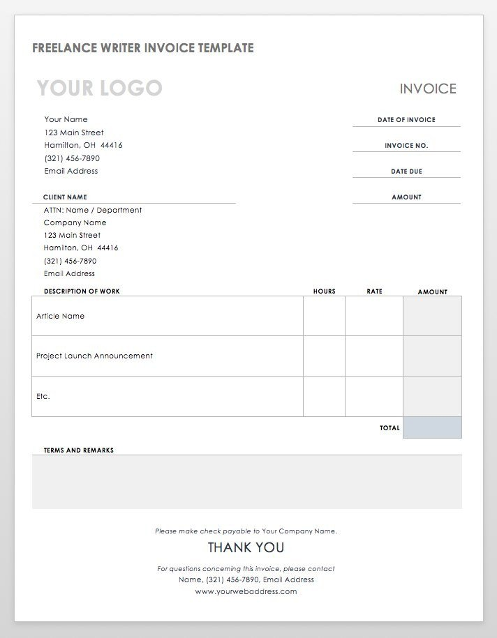 Freelance Hourly Invoice Template 55 Free Invoice Templates