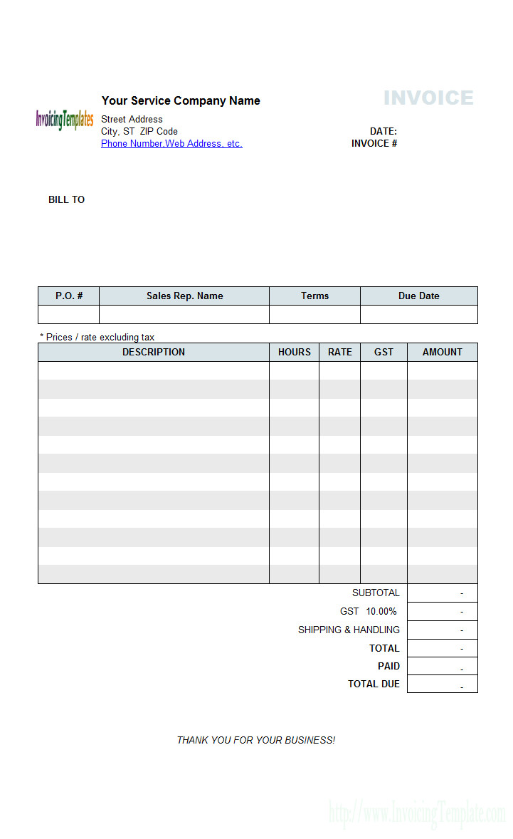 Freelance Hourly Invoice Template Contractor Invoice Templates Free 20 Results Found