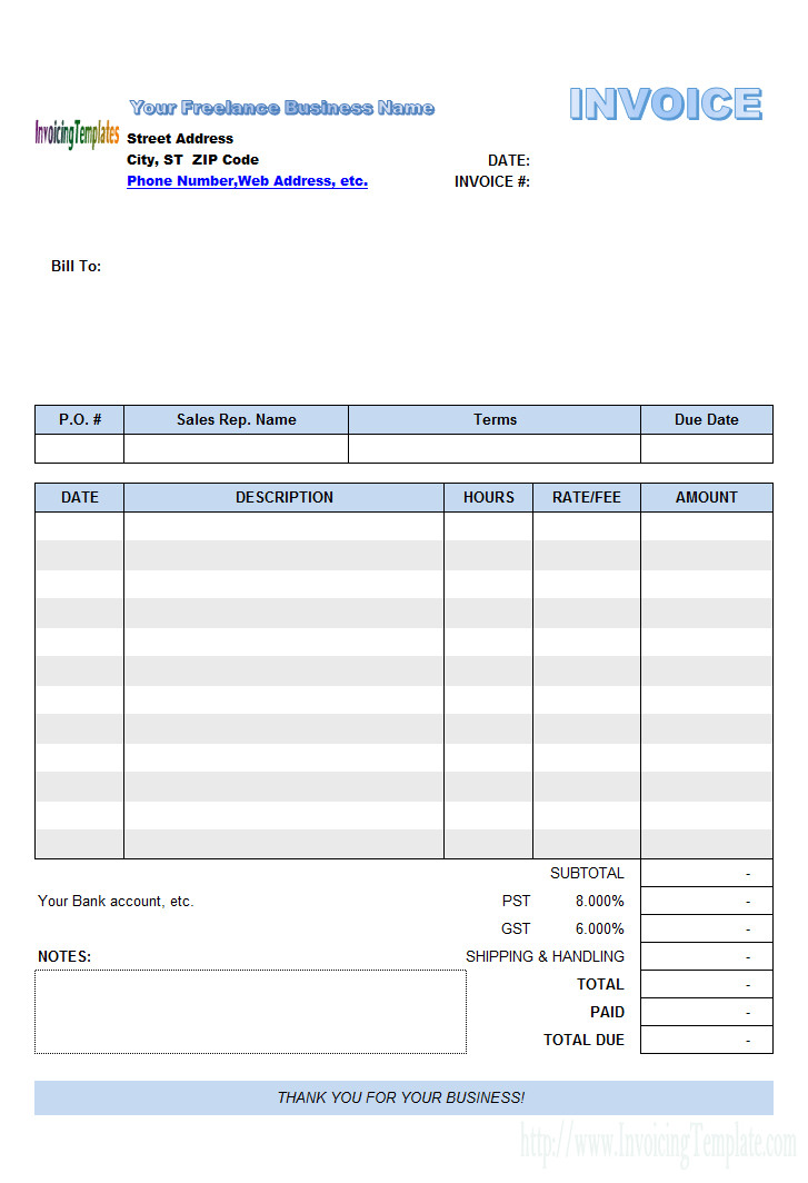 Freelance Hourly Invoice Template Freelance Invoice Template