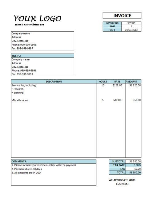 Freelance Hourly Invoice Template Hourly Invoice Template Hourly Rate Invoice Templates Free