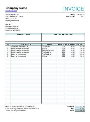 Freelance Invoice Template Microsoft Word 10 Free Freelance Invoice Templates [word Excel]