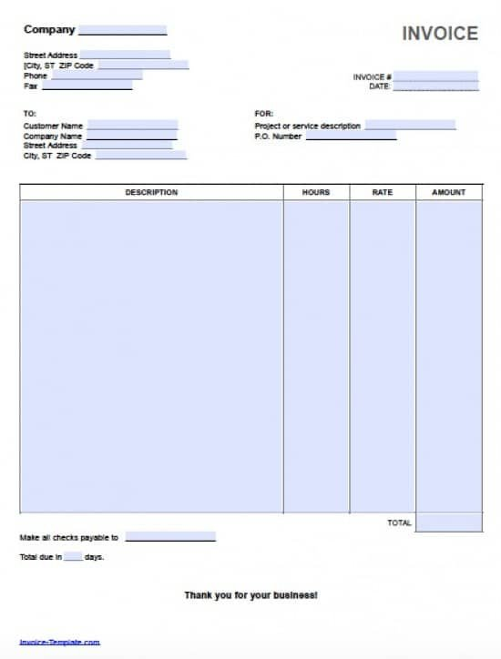 Freelance Invoice Template Microsoft Word Free Hourly Invoice Template Excel Pdf