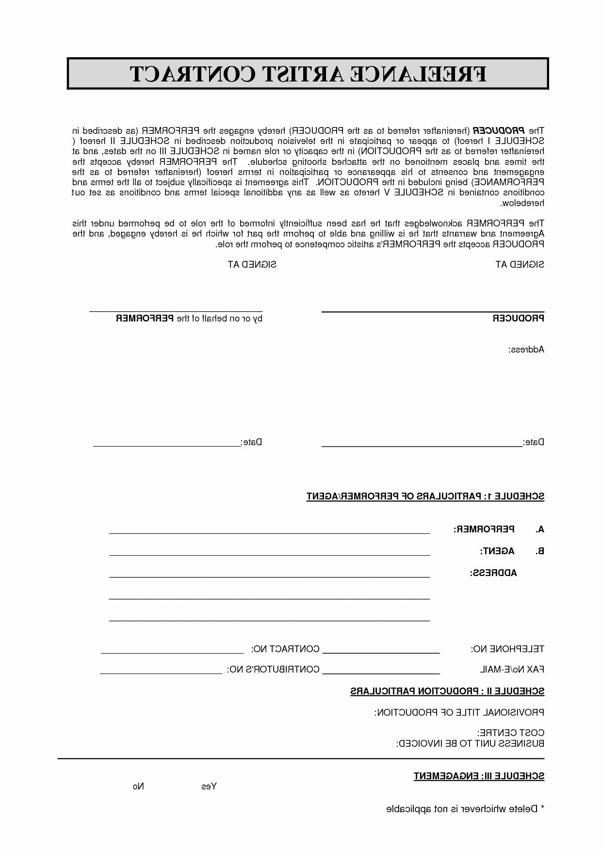 Freelance Makeup Artist Contract Template Artist Booking Contract Template