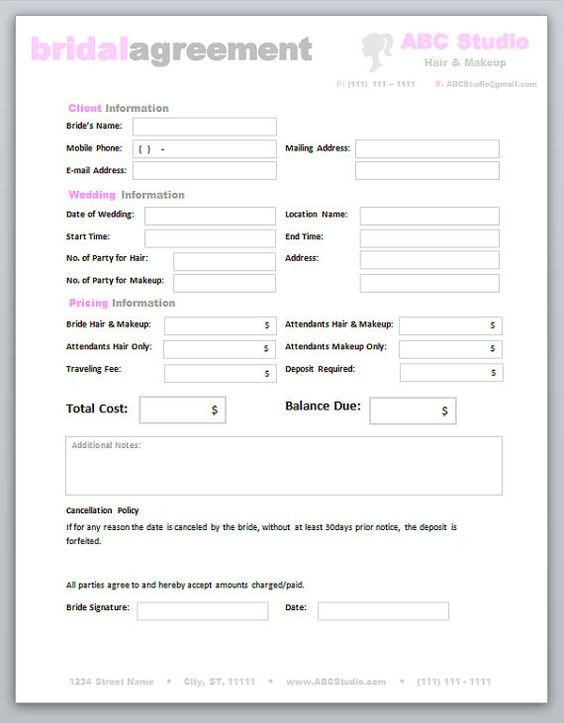 Freelance Makeup Artist Contract Template Freelance Hair Stylist & Makeup Artist Bridal Agreement