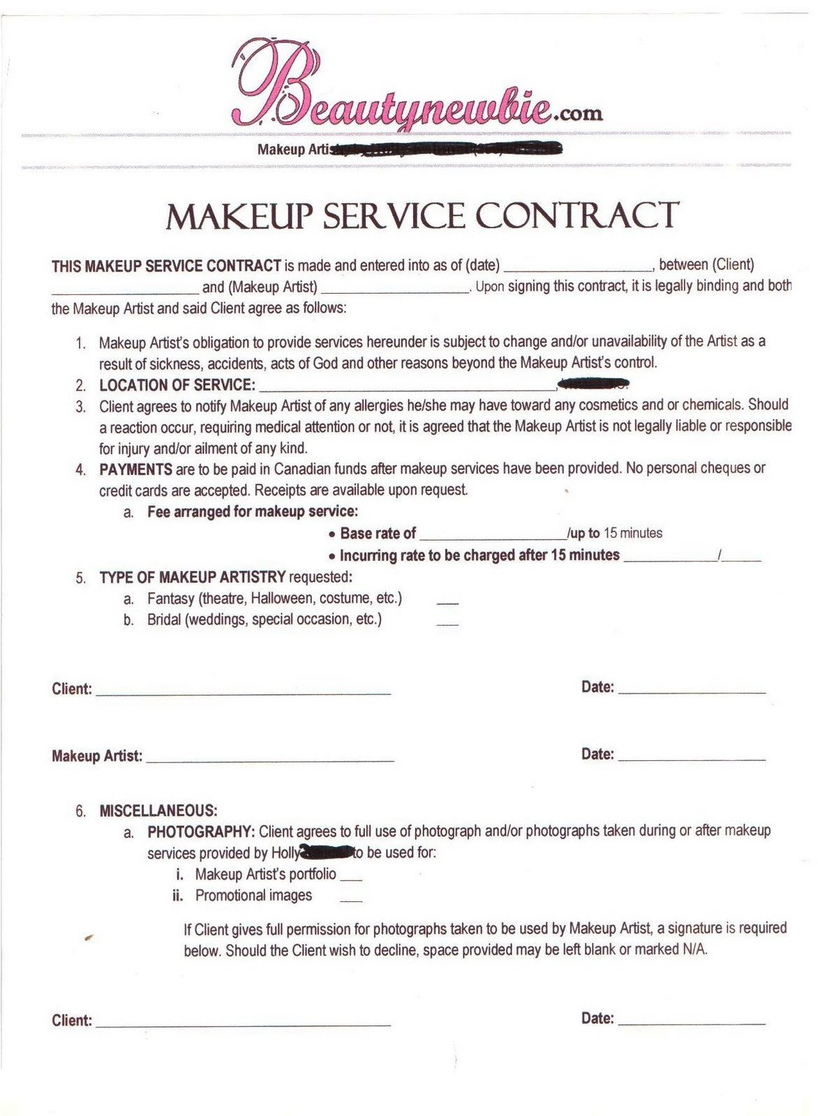Freelance Makeup Artist Contract Template Freelance Makeup Artist Contract Template