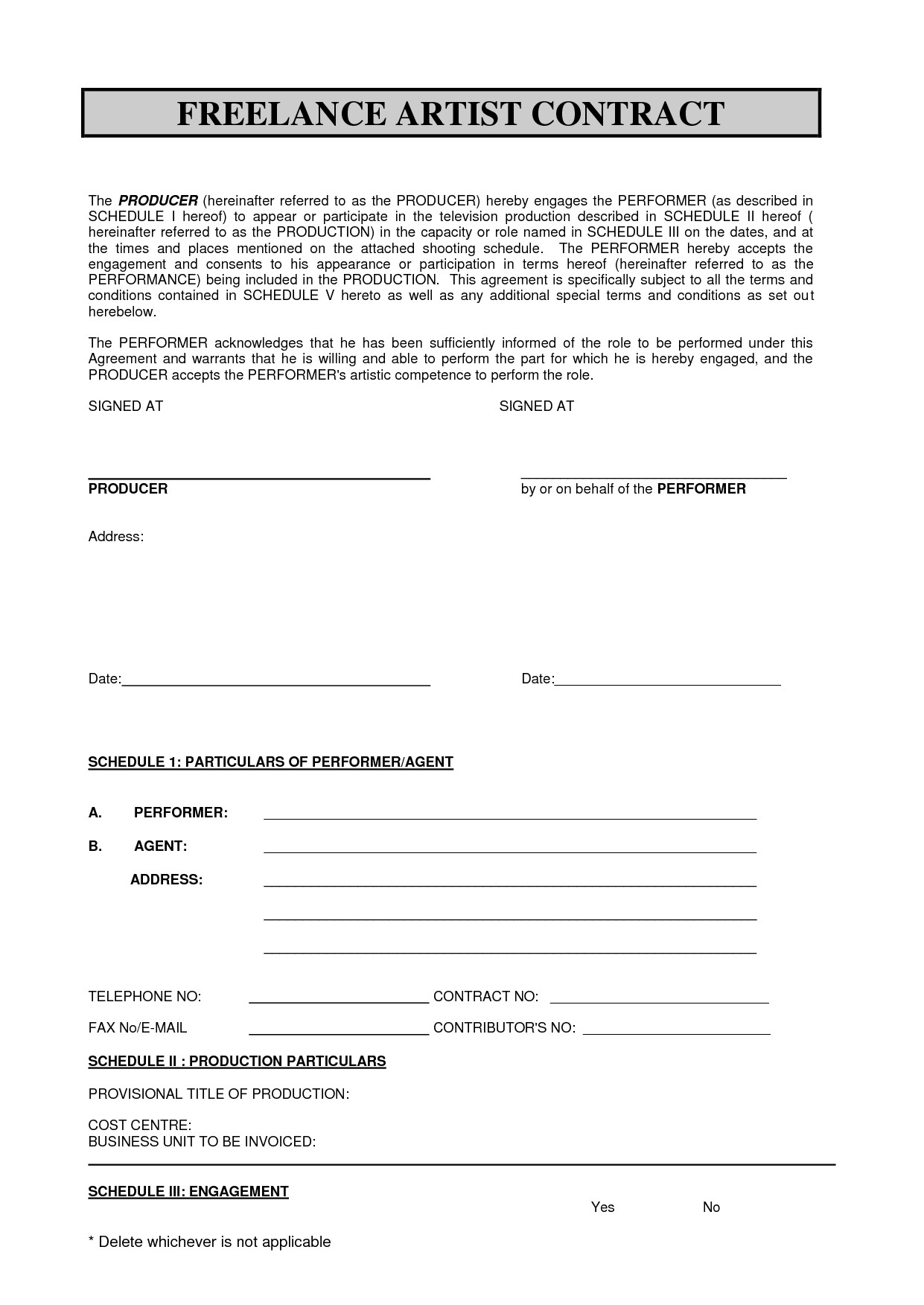 Freelance Makeup Artist Contract Template Sabc Contract 2010 Pdf Freelance Artist Contract by