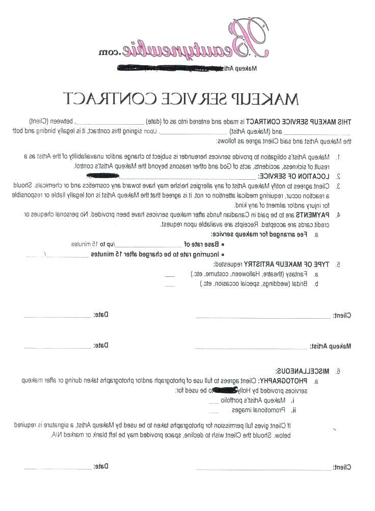 Freelance Makeup Artist Contract Template Sample Contract for Makeup Artist