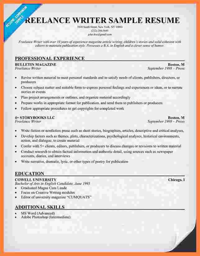 Freelance Writer Resume Sample 11 Freelance Writer Resume Template