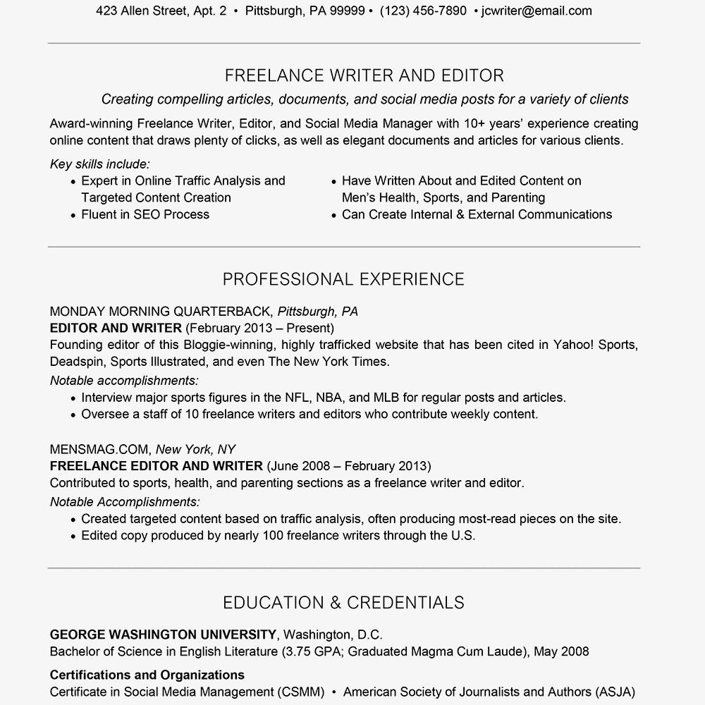 Freelance Writer Resume Sample Freelance Resume Cover Letter and Writing Tips
